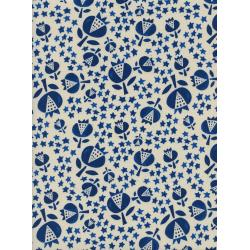 A4048-003 Flower Shop - Thistle - Indigo Unbleached Cotton Fabric
