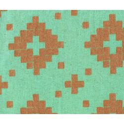 A4014-022 Mesa - Tile - Aqua Canvas Metallic Copper Fabric