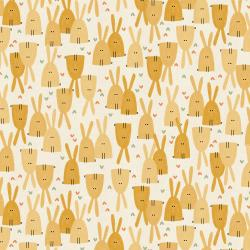 AE101-HO2U Dear Friends - Love in the Air - Honey Unbleached Fabric