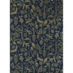 AB8045-002 Amalfi - Black Forest - Navy Metallic Fabric