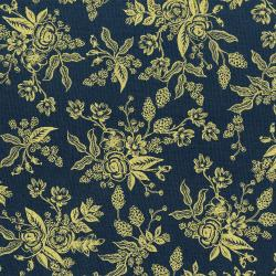 AB8060-002 English Garden - Toile - Navy Metallic Fabric