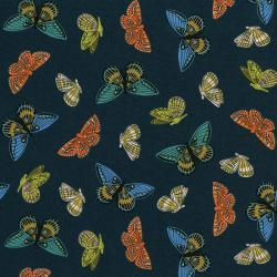 AB8063-031 English Garden - Monarch - Navy Lawn Metallic Fabric