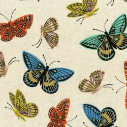 AB8065-012 English Garden - Monarch - Natural Canvas Metallic Fabric