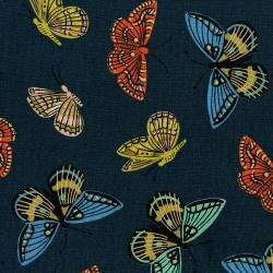 AB8065-022 English Garden - Monarch - Navy Canvas Metallic Fabric