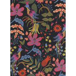 AB8010-012 Les Fleurs - Folk Birds - Black Canvas Fabric