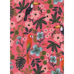 AB8035-016 Menagerie - Paradise Garden - Coral Rayon Lawn Fabric