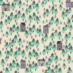 CC203-AQ1U Chill Out - Nature Walk - Aqua Unbleached Fabric