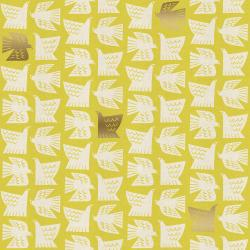 CF102-CI1UM Kibori - Paper Birds - Citron Unbleached Metallic Fabric