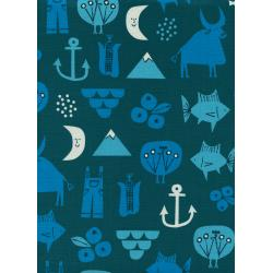 CB9002-001 Spectacle - Adventure - Blue Unbleached Cotton Fabric