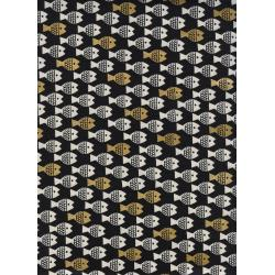 CB9008-002 Spectacle - Fish Friends - Gold Unbleached Cotton Metallic Fabric