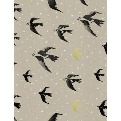 C5114-001 Black & White - Sea Farer - Gold Unbleached Cotton Metallic Fabric