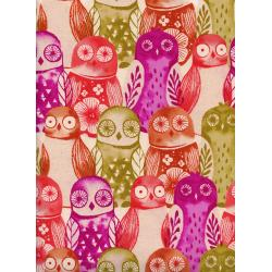 C5178-001 Firelight - Wise Owls - Fuchsia Unbleached Cotton Fabric