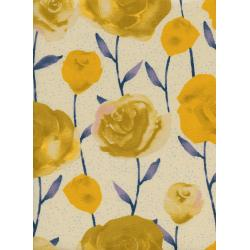 C5179-002 Firelight - Roses - Yellow Unbleached Cotton Fabric