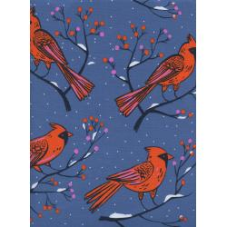 C5185-001 Frost - Winter Cardinals - Blue Fabric