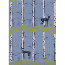 C5186-001 Frost - Fawn Forest - Blue Unbleached Cotton Fabric