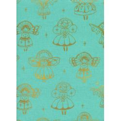 C5069-002 Garland - Angels - Aqua Metallic Fabric