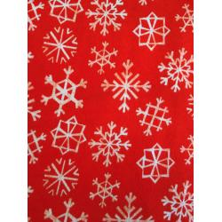 C5072-034 Garland - Snowflakes - Cherry Brushed Twill Fabric