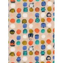 C5126-002 Lil' Monsters - Dress Up - Peach Unbleached Cotton Fabric