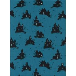 C5128-001 Lil' Monsters - Trick Or Treat - Teal Unbleached Cotton Fabric