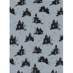 C5128-002 Lil' Monsters - Trick Or Treat - Grey Unbleached Cotton Fabric