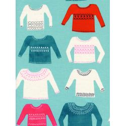 C5133-002 Noel - My Favorite Sweater - Blue Unbleached Cotton Neon Pigment Fabric