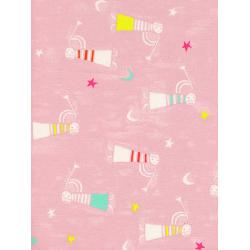 C5135-002 Noel - Angels Singing - Pink Unbleached Cotton Fabric