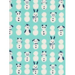 C5136-002 Noel - Snow Babies - Mint Unbleached Cotton Fabric