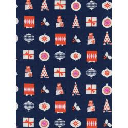 C5138-001 Noel - Wrapped Up - Navy Unbleached Cotton Fabric