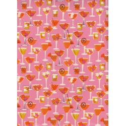 C6010-001 Poolside - Shaken - Pink Unbleached Cotton Fabric
