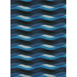 C6012-002 Poolside - Waves - Blue Unbleached Cotton Fabric