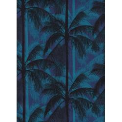 C6014-002 Poolside - Palms - Blue Unbleached Cotton Fabric