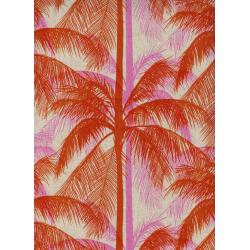 C6017-022 Poolside - Palms - Pink Canvas Fabric