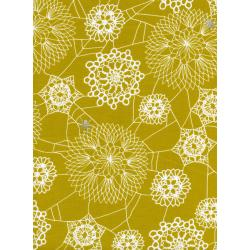 C5010-002 Spellbound - Doily Web - Mustard Metallic Fabric