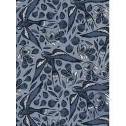 C5096-001 S.S. Bluebird - Sailor Ink - Blue Unbleached Cotton Fabric