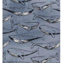 C5097-001 S.S. Bluebird - Fred And Carrie - Navy Unbleached Cotton Fabric