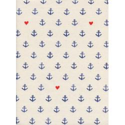 C5103-001 S.S. Bluebird - You'Re My Anchor - Natural Unbleached Cotton Fabric