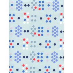 C5107-001 S.S. Bluebird - Morse Code - Blue Unbleached Cotton Fabric