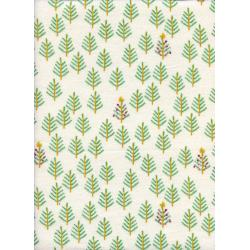 C5015-014 Tinsel - Christmas Forest - White Brushed Twill Fabric