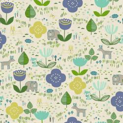 HO100-LE2U Mori No Tomodachi - Tomodachi Ippai - Lemon Unbleached Cotton Fabric