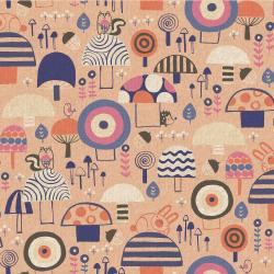 HO101-PE3C Mori No Tomodachi - Kinoko Yama - Peach Canvas Fabric