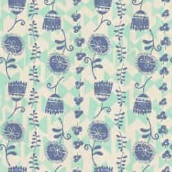 HO102-AQ1U Mori No Tomodachi - Ohana Katen - Aqua Unbleached Cotton Fabric