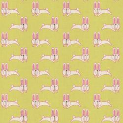 HO104-LE1U Mori No Tomodachi - Usagi Chan - Lemon Unbleached Cotton Fabric