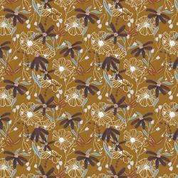 HJ301-MU3 Wallflower - Blooms - Mustard Fabric