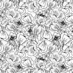 HJ302-BW4 Wallflower - Anemones - Black & White Fabric