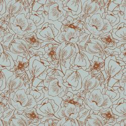 HJ302-PB2 Wallflower - Anemones - Powder Blue Fabric