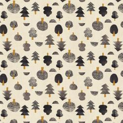 IN101-CR1U Neko and Tori - Tiny Trees - Cream Unbleached Fabric
