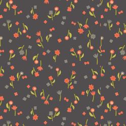 IN103-CH3 Neko and Tori - Flower Picking - Charcoal Fabric