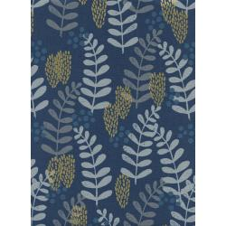 J9011-001 Imagined Landscapes - Fern Dell - Navy Unbleached Cotton Metallic Fabric