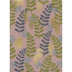 J9011-002 Imagined Landscapes - Fern Dell - Rose Gold Unbleached Cotton Metallic Fabric