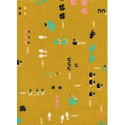 K3025-012 Lucky Strikes - Lucky - Mustard Canvas Fabric